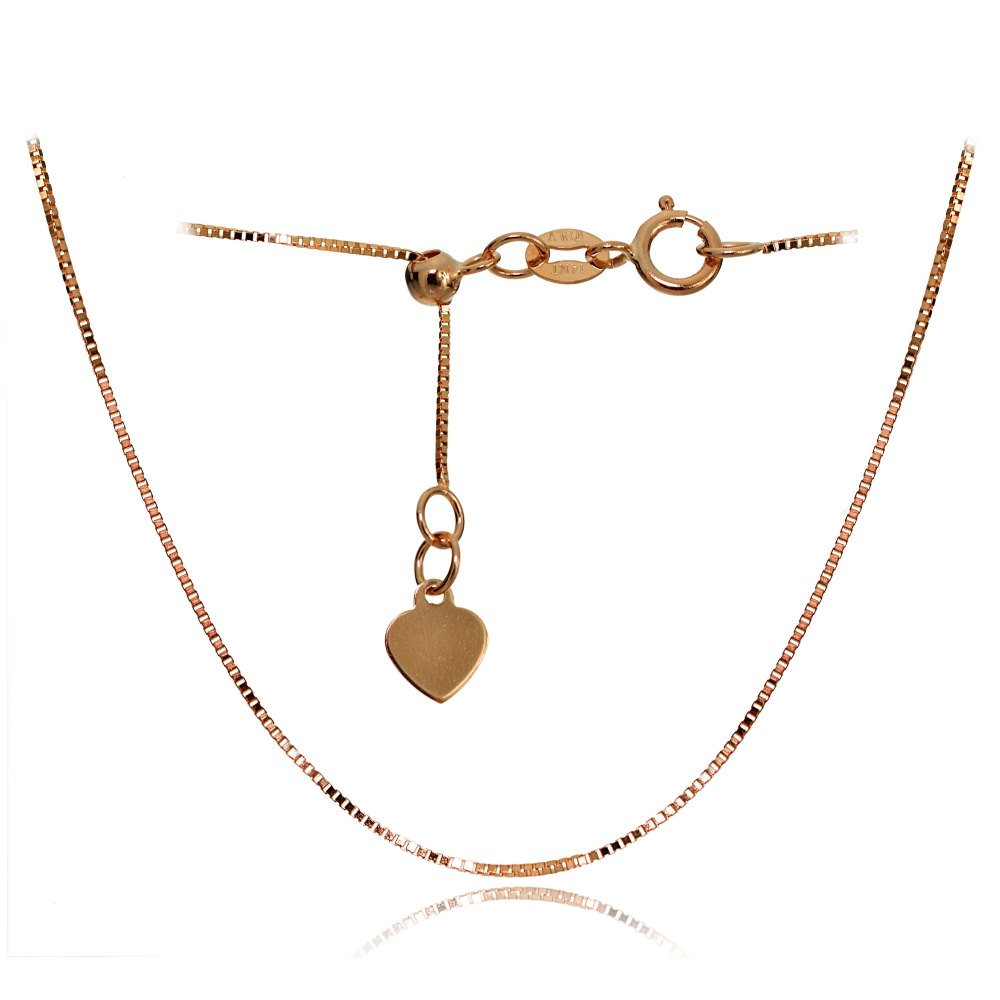 Bria Lou 14k Rose Gold .6mm Italian Box Adjustable Chain Anklet, 9-11 Inches