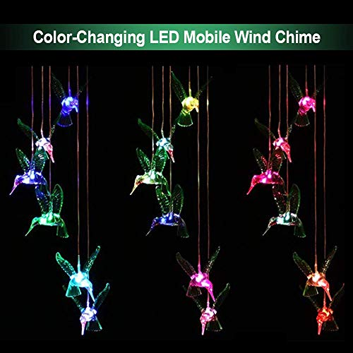 ZOUTOG Solar String Lights, Color Changing LED Mobile Hummingbird Wind Chimes, Waterproof Outdoor Solar Lights for Home/Yard/Patio/Garden by ZOUTOG (Image #4)
