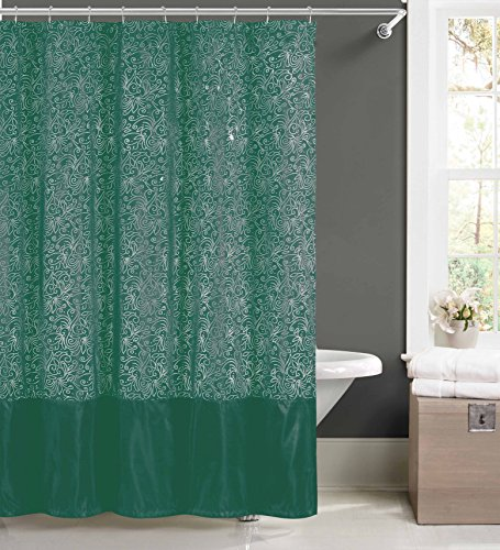 (Faux Silk Fabric Shower Curtain: Metallic Raised Pin Dots Abstract Floral Design (Teal) )