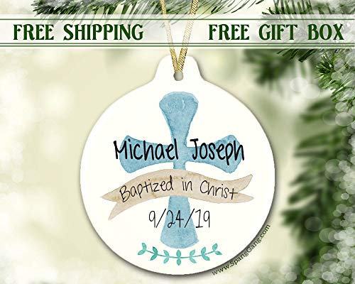Boy Baptism Gift Ornament, Christmas Gift for Baby Boy, Personalized Christmas Ornament