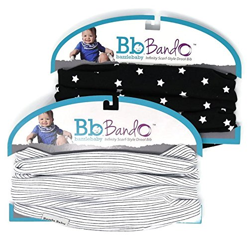 Bazzle Baby Bando Bib - Machine Washable Bandana Bib for Babies - One Size Fits All Drool Bib - 0 to 36 Months - Night Sky and Pen Lines, 2 Pack