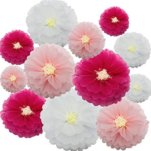 zorpia Tissue Paper Chrysanth Flowers Paper Leaves DIY Crafting for Rustic Wedding Backdrop Baby Shower Nursery Decorations (Set of 12, Pink White)