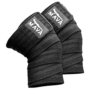"""Mava Sports Knee Wraps (Pair) for Cross Training WODs,Gym Workout,Weightlifting,Fitness & Powerlifting - Best Knee Straps for Squats - For Men & Women- 72""""-Compression & Elastic Support (Black)"""
