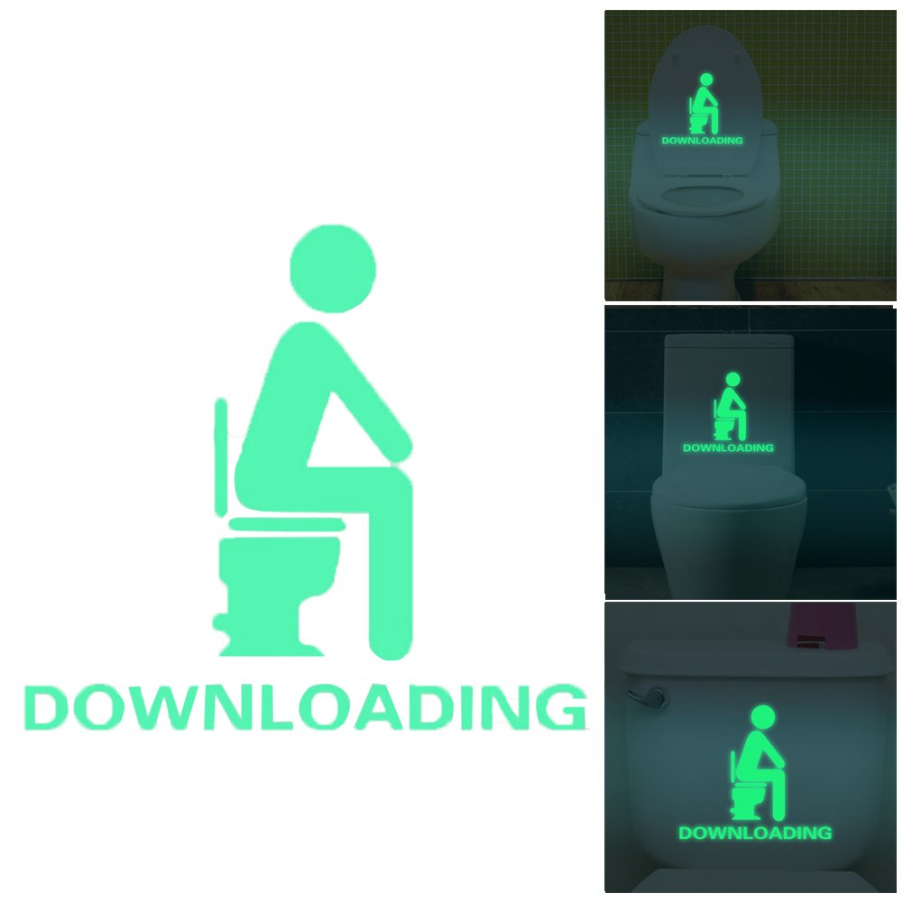 La Cabina Autocollants Muraux de Toilette Noctilucent Impermé ables Amovible Siè ge de Toilette Porte de Salle de Bains WC Sign Etanche Stickers Muraux (B)