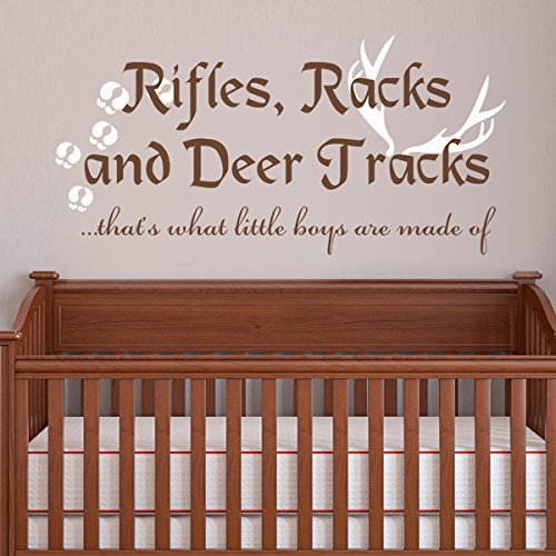 Baby Bedroom Playroom & Nursery Wall Decal Rifles Racks And Deer Tracks Quotes B(Medium,English-White;Antlers and Footprints-Brown)