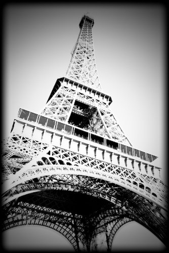 Eiffel tower paris france black and white print prbw1192 4x6