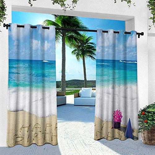 Biltmore Five Light - Hengshu Birthday, Thermal Insulated Water Repellent Drape for Balcony,Happy Birthday Celebration on Sandy Beach with Party Hat Presents Ocean, W120 x L108 Inch, Blue Light Brown Pink