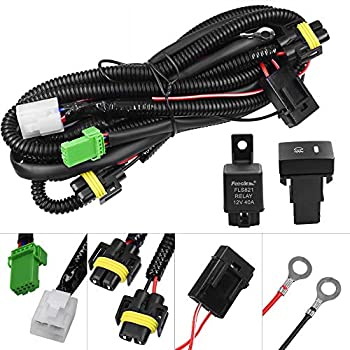 amazon com ledin h11 h8 h9 12v 30a fog light wiring harness relay  huiqiaods h11 880 881 h9 fog light lamp wiring harness socket wire connector with 40a relay & on off switch kits fit for led work lamp driving lights etc