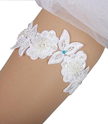 Miranda's Bridal Women's Ivory Lace Bridal Garters Wedding Garters Ivory XL