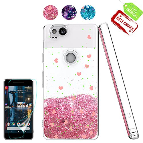 Pixel 2 Case,Google Pixel 2 Case with HD Screen Protector for Girls, [Love Heart Series] Liquid Glitter Bling Sparkly Soft TPU Bumper Clear Quicksand Phone Cover Woman Gift Cases for Pixel 2 Pink