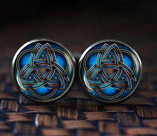 Blue triquetra cufflinks, Celtic triangle cufflinks, Celtic knot cufflinks, Celtic cufflinks, Trinity Knot art -