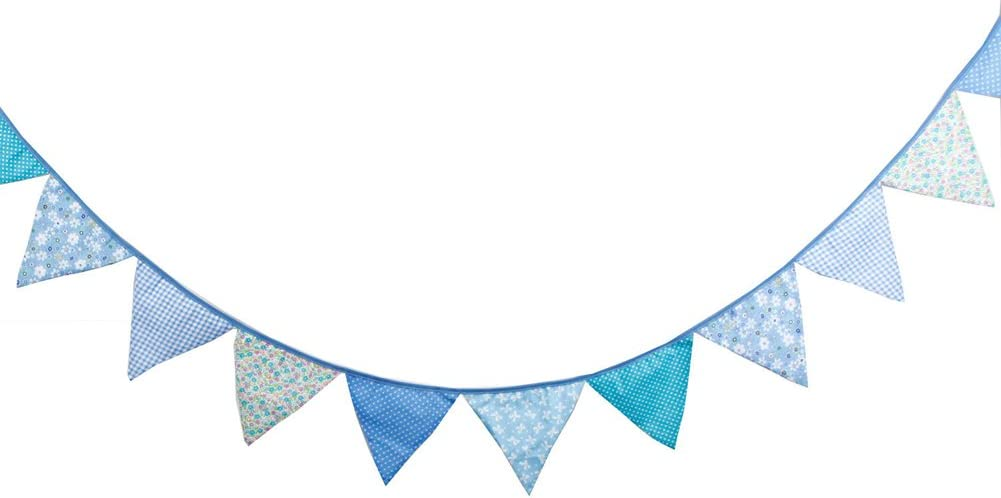 Baby Pink Prosperveil 10.5ft Bunting Banner Flags Fabric Vintage Floral Triangle Flag Pennant Garland for Kids Bedroom Indoor Outdoor Party Decorations
