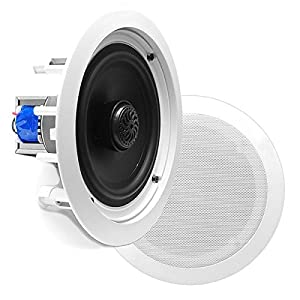 "8"" Ceiling Wall Mount Speakers - Pair of 2-Way Midbass Woofer Speaker 70v Transformer Directable 1"" Titanium Dome Tweeter Flush Design w/ 55Hz-22kHz Frequency Response & 300 Watts Peak - Pyle PDIC80T"