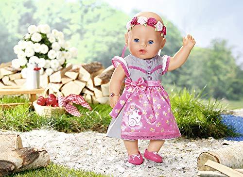 Vestitino Colore: Rosa//Grigio Zapf Creation 827451 Baby Born Soft Touch Dirndl Edition 43 cm