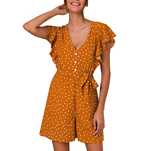 (TOTOD Rompers for Women, Summer Dot Print Shirred Frill Sleeves Jumpsuit Ladies Belted Holiday Playsuits Yellow)