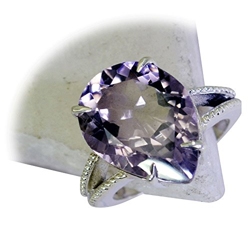 55Carat Natural Amethyst Silver Ring For Women February Birthstone Pear Cut Astrological Size 5,6,7,8,9,10,11,12 (Faceted Cut Pear)