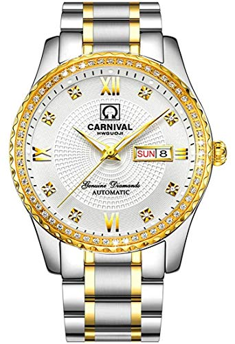 Men's Business Automatic Self Wind Watch Stainless Steel Waterproof Luminous Bezel Inlay Crystals Watch (Two-Tone White)