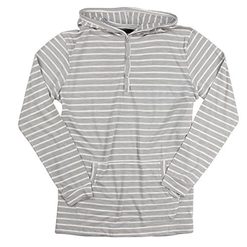 Men's Lightweight Henley Striped Hoodie (Grey/White, Medium)
