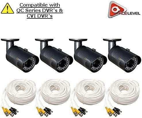 Q-See 1080p HD Bullet Security Camera 4-Pack 2MP, 3.6mm Lens, 24 IR LEDs up to 80ft, 2D-DNR, BLC, AGC, IP66 – QCA8050B
