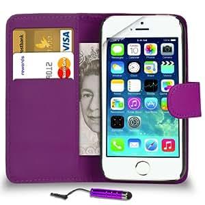 DMA Apple IPhone 5 / 5S / 5C de Púrpura Cartera de cuero del caso del tirón de la cubierta Pouch + Mini Touch Stylus Pen + 2 x Protector de pantalla y paño de pulido