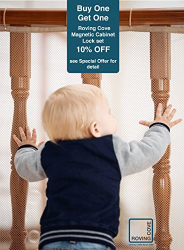 Roving Cove Safe Rail  10ft L x 3ft H  INDOOR Balcony and Stairway Safety Net  ALMOND color  Banister Stair Net  Child Safety; Pet Safety; Toy Safety; Stairs Protector