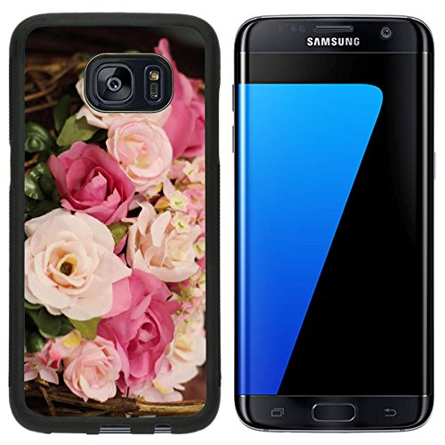 Liili Samsung Galaxy S7 Edge Aluminum Backplate Bumper Snap Case colorful flowers bouquet roses tulips birthday Mothers day valentines day greetings congratulations (Flower Backplate)