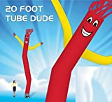20 Foot Fly Guy – Inflatable Tube Man – Sky Puppet Dancing Balloon. Fits all 18 inch fans. Red Body with Yellow Arms - Fabric Only