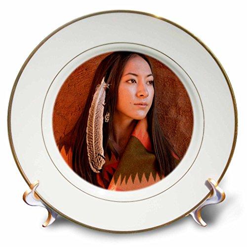 3dRose cp_92706_1 New Mexico, Cherokee Woman, Native American US32 JMR0634 Julien Mcroberts Porcelain Plate, 8-Inch