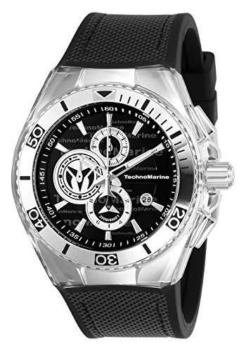 Technomarine Men's 'Cruise' Quartz Stainless Steel and Canvas Casual Watch, Color:Black (Model: TM-115344)
