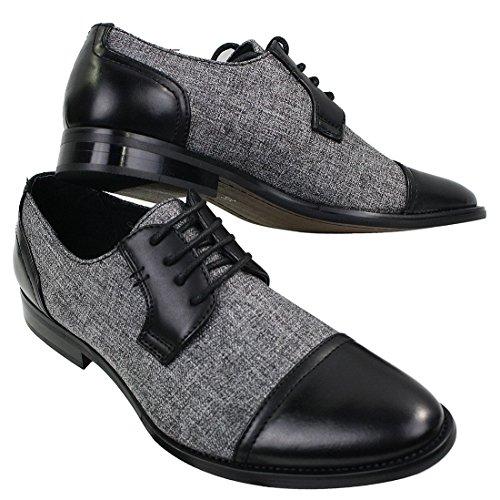 Chaussures Vintage tissu et style homme Noir tweed à cuir simili décontracté Rétro lacets rwS4rqPYx