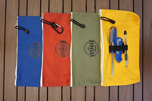 Canvas-Zipper-Bag-Set-of-4-Heavy-Duty-Tool-Pouch-Tote-Bags-Color-Coded-with-Carabiner-Clip-Metal-Zipper-and-Elastic-Organizer