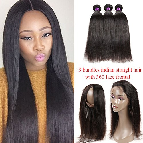 Indian Straight Virgin hair 360 Lace Frontal Closure with Bundles Pre Plucked 360 Lace Frontal with Straight Hair Bundles 8A Indian Human hair with 360 Frontal (26 26 26+20 360frontal, Natural Color) Review