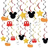 20 PCS Mickey Mouse Hanging Swirls Decorations, Mickey Mouse Hanging Swirls for Baby Birthday Party