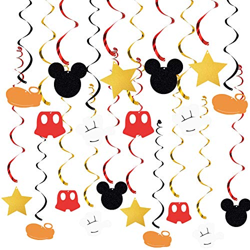 20 PCS Mickey Mouse Hanging Swirls Decorations, Mickey Mouse Hanging Swirls for Baby Birthday Party Mickey Mouse Theme Party Supplies]()