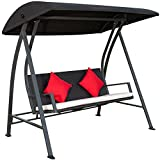 Porch Swing Outdoor Lounge Chair Seats 3 Patio PE Wicker Glider Bench with Steel Frame and Padded Cushion, Black