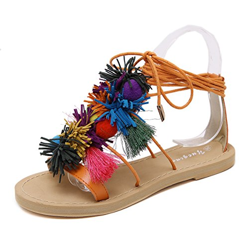 sandalias Nuevas de de japonesas ZHZNVX punta plana verano romanas correa Orange con flecos de color dos zapatos sandalias plana AWWqHdp