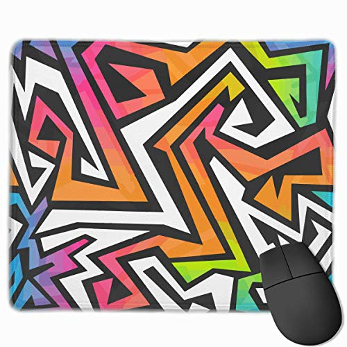 Spectrum Color Graffiti Quality Comfortable Game Base Mouse Pad with Stitched Edges Size 11.81 9.84 Inch]()