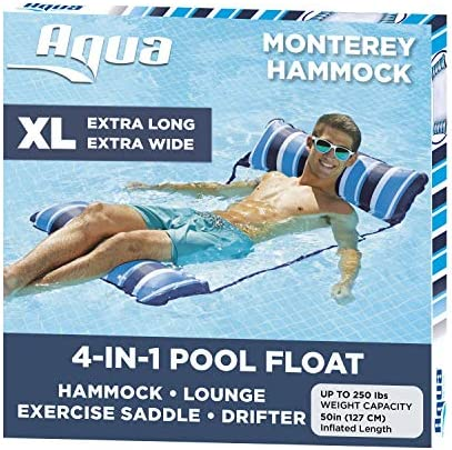 Aqua LEISURE 4-in-1 Monterey Hammock XL (Longer/Wider) Inflatable Pool Chair, Adult Pool Float (Saddle, Lounge Chair, Hammock, Drifter), Water Hammock, Navy/White Stripe (AZL18905BL)