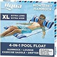 Aqua LEISURE 4-in-1 Monterey Hammock XL (Longer/Wider) Inflatable Pool Chair, Adult Pool Float (Saddle, Lounge