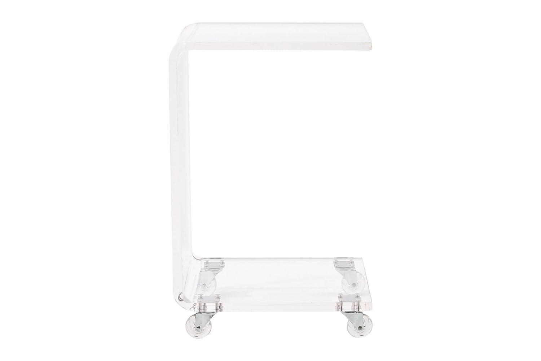 Pure Décor Acrylic C Shape Accent Table, Clear