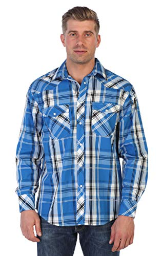 Gioberti Men's Western Plaid Shirt with Pearl Snaps, Blue/White & Charcoal Contrast, Size 4X-Large