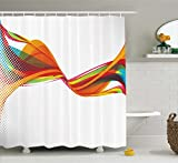 Abstract Shower Curtain by Ambesonne, Rainbow Curved Wave Smoke like Image with Pixel Style Detailed Work of Art Print, Fabric Bathroom Decor Set with Hooks, 70 Inches, Multicolor
