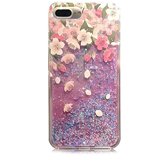 New Pink Petal - iPhone 8 Plus/iPhone 7 Plus Case(5.5inch),Blingy's New Flowing Liquid Glitter Style Plastic Hard Case for iPhone 8 Plus/iPhone 7 Plus (Pink Petals)