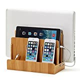 XPhonew Bamboo Multi Device Charging Station Original Electronics Charger Stand Cradle & Organizer for iPhone, iPad, Samsung Galaxy Mobile Phone, Laptops, Tablets, Smartphones (Multi Charger Station)