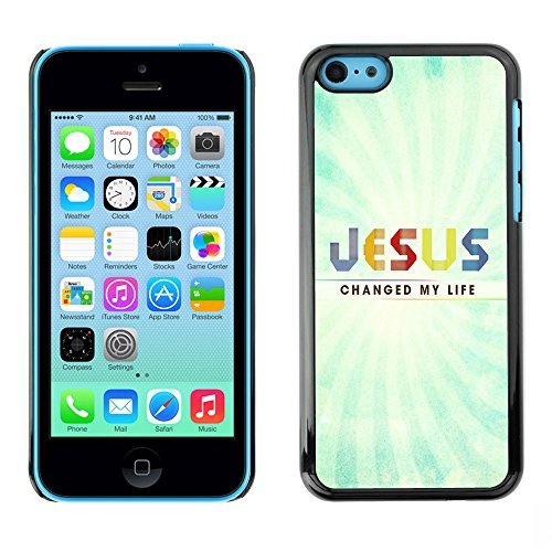 DREAMCASE Citation de Bible Coque de Protection Image Rigide Etui solide Housse T¨¦l¨¦phone Case Pour APPLE IPHONE 5C - JESUS CHANGED MY LIFE