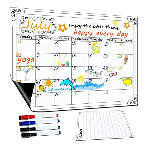 Lockways Magnetic Dry Erase Calendar 17 x 13 - Monthly White Board/Whiteboard Organizer Planner, Fridge Magnetic Calendar Organizer for Kitchen Refrigerator
