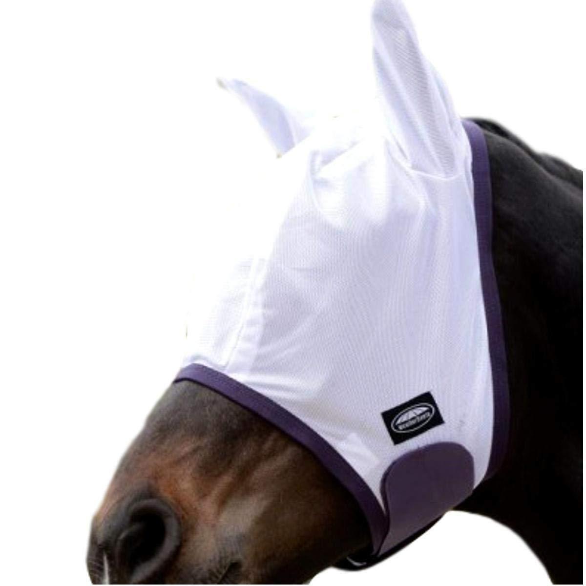 Weatherbeeta Comfitec Essential Fly Mask White/Purple/Black Full by Weatherbeeta