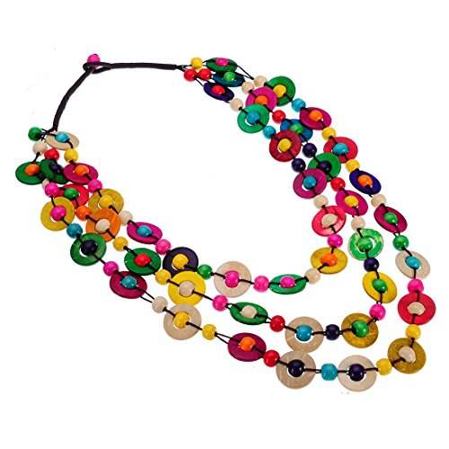 XBY-Jewel Colorful Statement Wooden Beads Chunky Necklaces Collar Chain Multi Strand Necklaces for Women Fashion Costume Jewelry