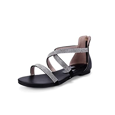 15730a9b7705 AllhqFashion Women s Open Round Toe Cow Leather No Heel Solid Sandals with  Glass Diamond and Bandage