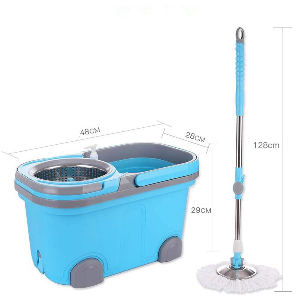 Rotary Mop Double Drive Mop Bucket Home Free Hand Wash Wet Dual-Use Increase Thickening Barrel Stainless Steel Mop by WM (Image #1)